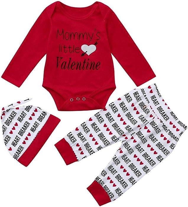 K-youth Ropa Bebe Niño San Valentín Daddy is my Valentine Conjunto de Ropa Bebe Recién Nacido Peleles Niña Mono Manga Larga Mameluco Pantalones Sombrero