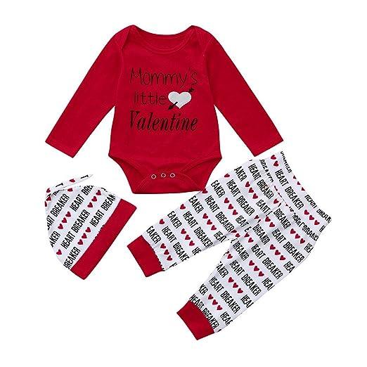 Ropa para Niños Encantadora, YpingLonk Bebé Letra Patrón Dia de San Valentin Tops + Pantalones + Sombrero para Hombres y Mujeres Primavera y Otoño Sudadera ...