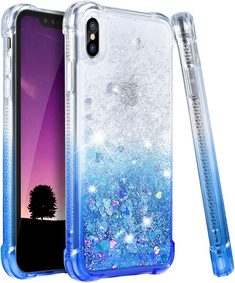 Ruky iPhone X Case, iPhone Xs Glitter Case, Gradient Quicksand Series Girls Women TPU Bumper Cushion Reinforced Corners Protective Bling Liquid Case for iPhone X Xs 5.8 inches, Gradient Azure