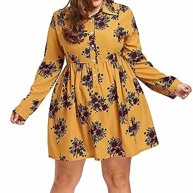 Vestidos Estampados Flores Mujer Falda de Camisa con Estampado de ...
