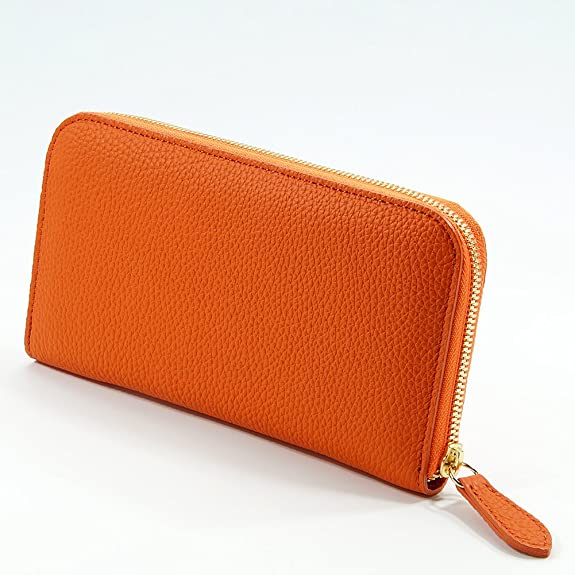 15ac93962399 Amazon   [RIA CREATION] ドイツシュリンク ラウンドファスナー 少し 大き目 長財布 (オレンジ)   財布
