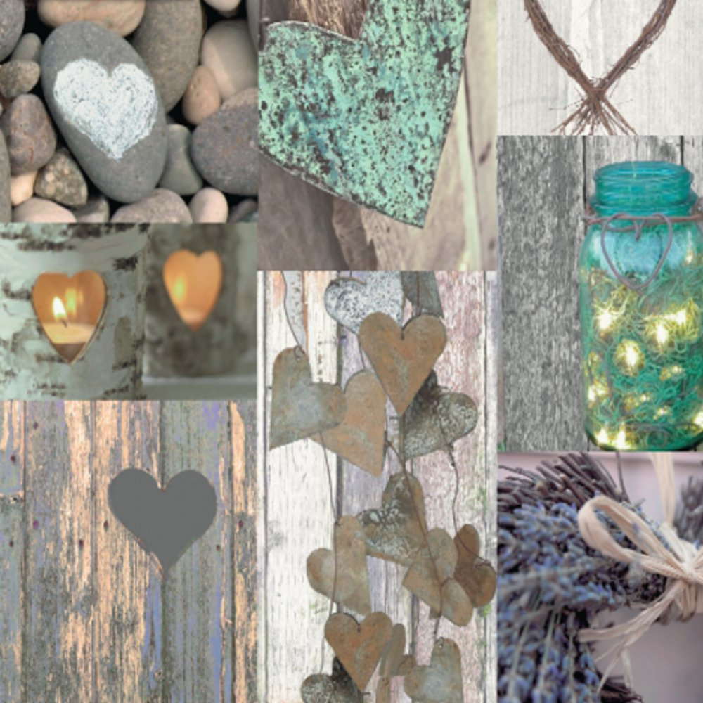 Arthouse Rustic Heart Photo Collage Pattern Wood Wallpaper 669600 Amazoncouk Kitchen Home