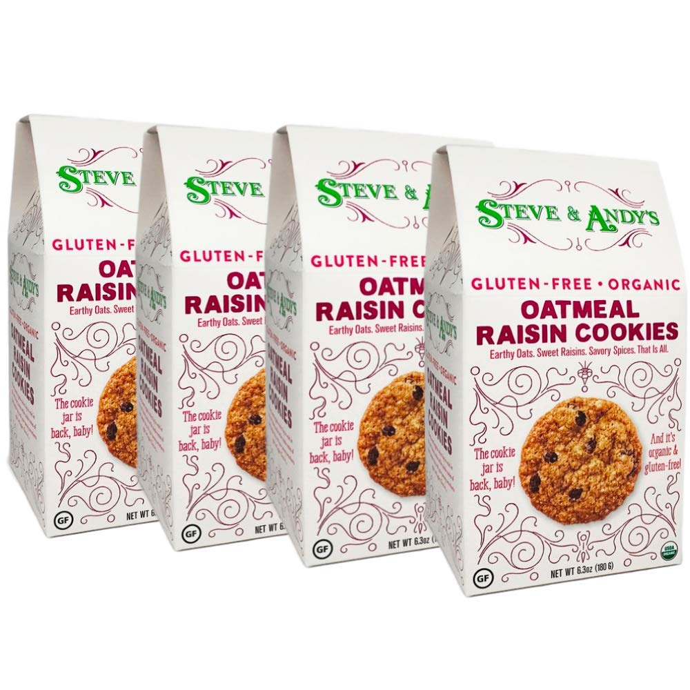 Organic Oatmeal Raisin Cookies, Gluten Free by Steve and Andy's -- Soft, and Chewy Cookie, Non GMO, No Corn Syrup, No Tree Nuts, Kosher (Oatmeal Raisin, Pack of 4) by Steve & Andy's