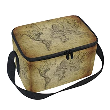 Naanle vinatge retro world map canvas zipper insulated lunch bag naanle vinatge retro world map canvas zipper insulated lunch bag cooler tote bag world map gumiabroncs Choice Image