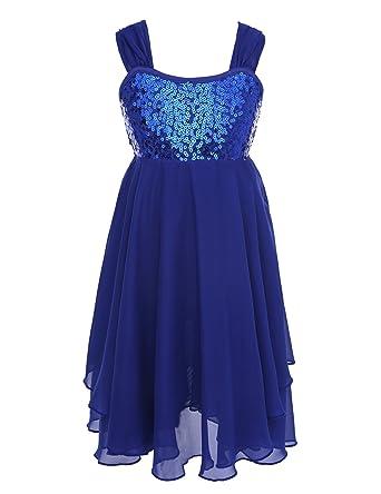 1f3e0505b61b iiniim Girl's Lyrical Dress Sequins Bowknot Back Tank Top Irregular  High-low Skirt Ballroom Dance