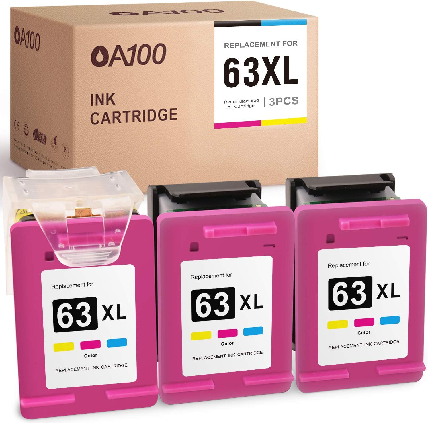 OA100 Remanufactured Ink Cartridge Replacement for HP 63 XL 63XL for Officejet 3830 4650 5258 5255 DeskJet 1112 3630 2132 (Tri-Color, 3 Pack)