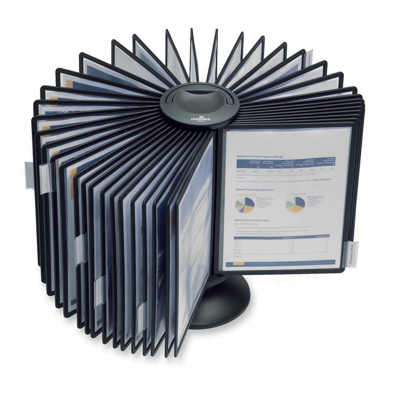 DURABLE SHERPA 40-Panel Desktop Carousel, Gray Borders (555701)