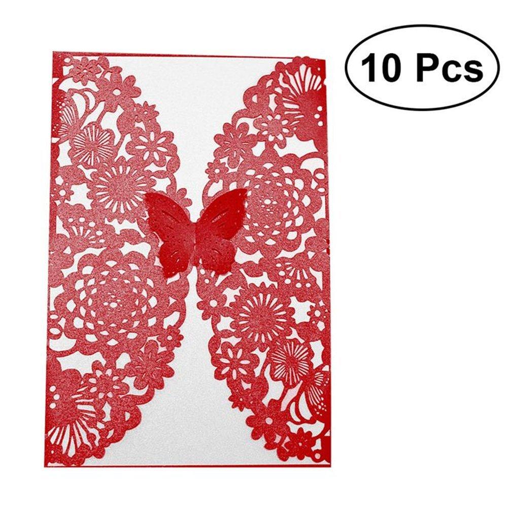 Amazon.com: 10pcs Butterfly Hollow Wedding Invitation Cards Card ...