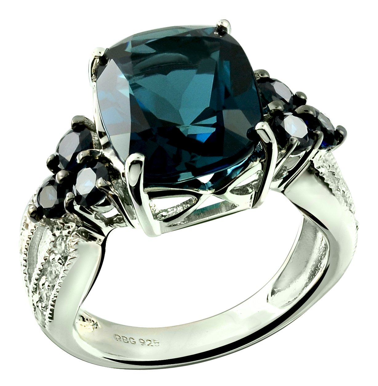 Sterling Silver 925 Ring GENUINE LONDON BLUE TOPAZ and BLUE SAPPHIRE 7.62 Cts with RHODIUM-PLATED Finish (8, london-blue-topaz) by RB Gems