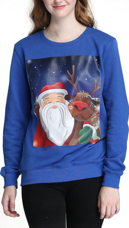 Brilliant bluee Santa Elk YOU LOOK UGLY TODAY 2018 3D Hoodie Collection  Unisex Hooded Sweatshirt, Big Pockets