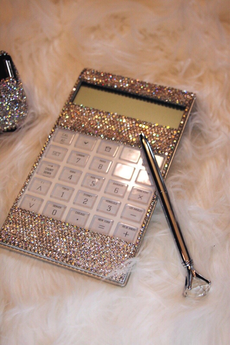 TISHAA Great Gift Idea Bling Bling Beautiful Calculator (White Bling with Silver Pen)