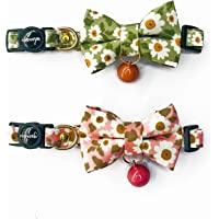 Cognatio Cat Collars with Bells and Safety Release Buckle, Floral Bow Tie Kitten Collars, Adjustable 20-30 cm, 2 Pack…