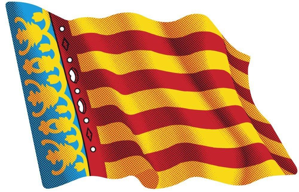 Artimagen Pegatina Bandera Ondeante Comunidad Valenciana 80x60 mm ...