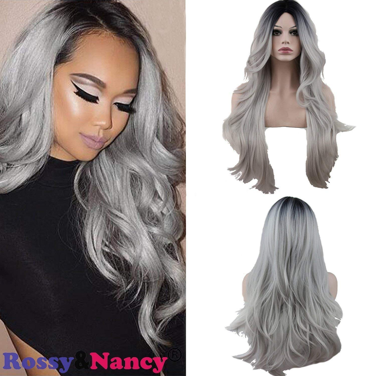 Rossy&Nancy Two Tones Cheap Synthetic Long Nature Wave Heat Resistant None Lace Wig Middle Part Ombre Black Rooted Silver Gray 130% High Density for Women by Rossy&Nancy