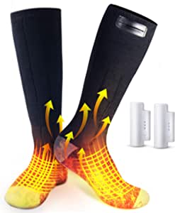 MIROCOO Heated Socks, Rechargeable Washable 3 Heating Settings Electric Heating Sock for Men and Women, Outdoor Riding Camping Hiking Skiing Warm Winter Socks