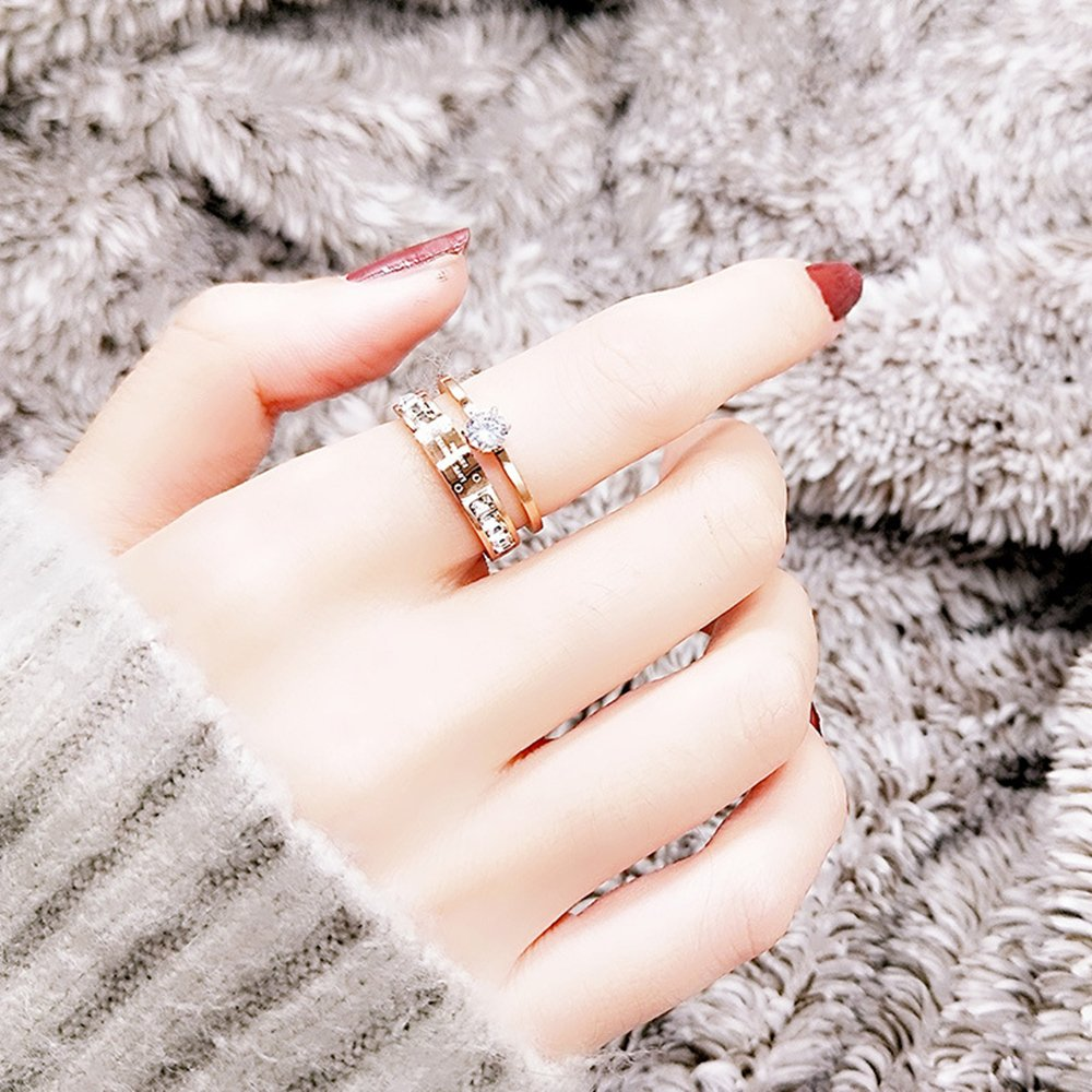 Qindishijia Love Double Zircon Ring-Rose Gold Titanium Retro Eternal Love Ring(Size:7) by Qindishijia (Image #3)