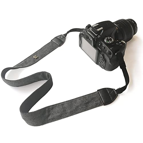 Bestele Camera Shoulder Neck Belt Strap, Soft Vintage Print Camera Straps for DSLR/SLR/ Nikon/Canon/ Sony/Lumix/ Fujifilm/Rico/ Samsung/Pentax/ Olympus etc.(Soft Black)