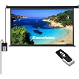Excelvan Portable 100 Inch 16:9 1.2 Gain Wall Ceiling Electric Motorized HD 4K Indoor Outdoor Projector Screen with Remote Control for Family Home Theater and Office