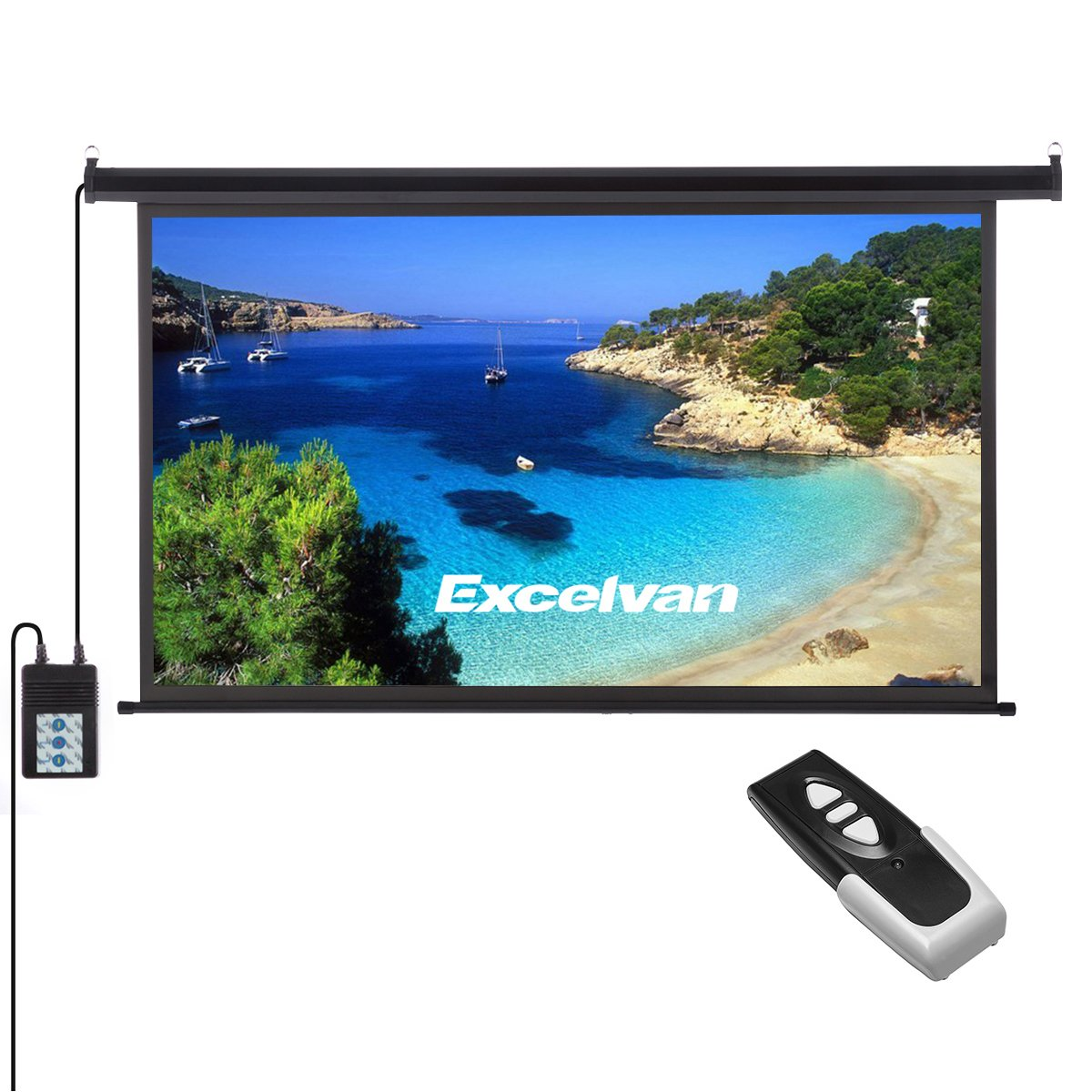 Excelvan Portable 120 Inch 16:9 1.2 Gain Wall Ceiling Electric Motorized HD 4K Indoor Outdoor Projector Screen with Remote Control for Family Home Theater and Office
