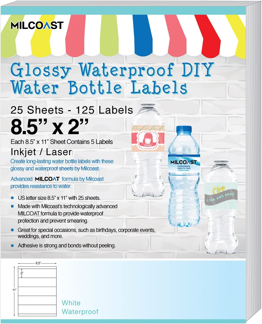 Amazon Com Milcoast Glossy Waterproof Diy Water Bottle Labels 8 5