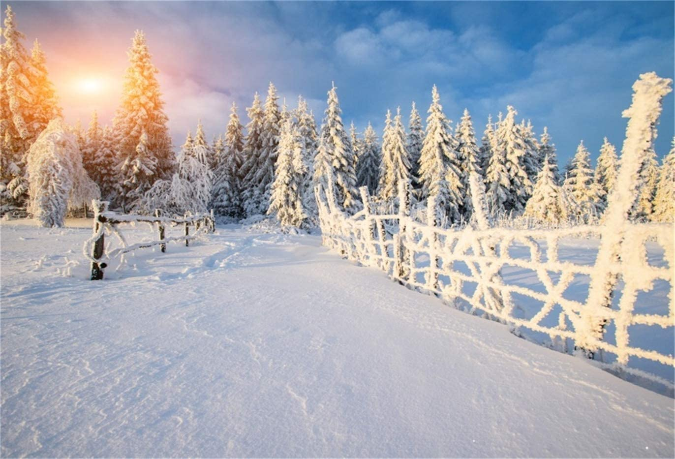 Winter 10x8 FT Vinyl Photography Background Backdrops,Wooden Houses on Austrian Mountains Snowy Forest Cottage Holiday Destination Background for Photo Backdrop Studio Props Photo Backdrop Wall