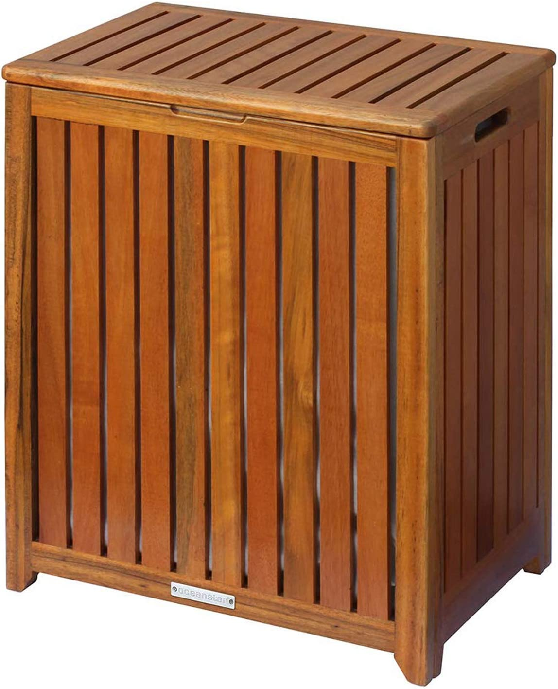Amazon Com Laundry Hamper With Flip Lid Solid Wood Construction Contemporary Clothes Organizer Lined With A Canvas Bag Slatted Design Home Kitchen