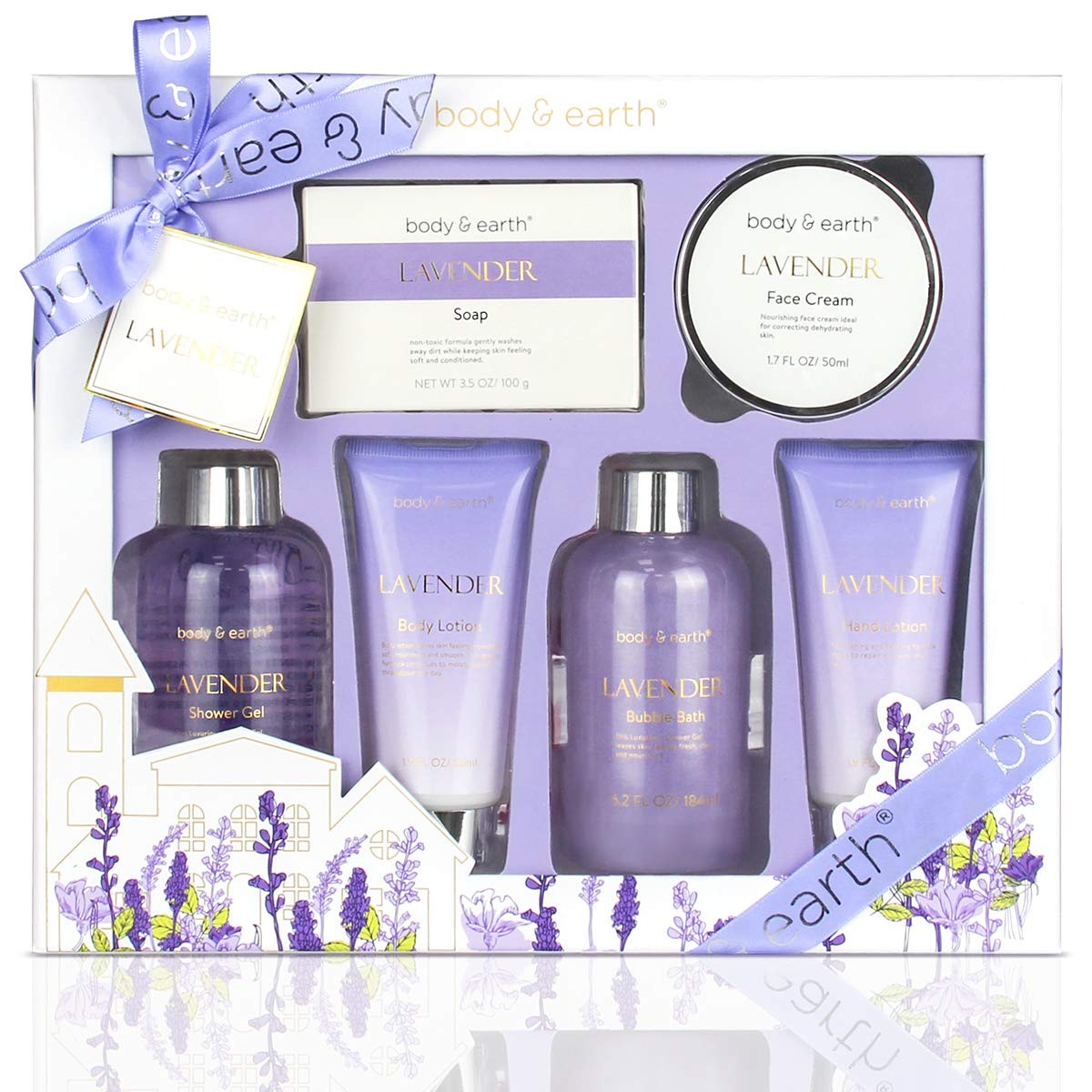 Bath and Body Gift Set - Luxurious 6 Pcs Bath Kit for Women, Body & Earth Spa Set with Lavender Scent - Bubble Bath, Shower Gel, Hand & Face Cream, Body Lotion, Hand Soap, Perfect Gift Box for Women by BODY & EARTH