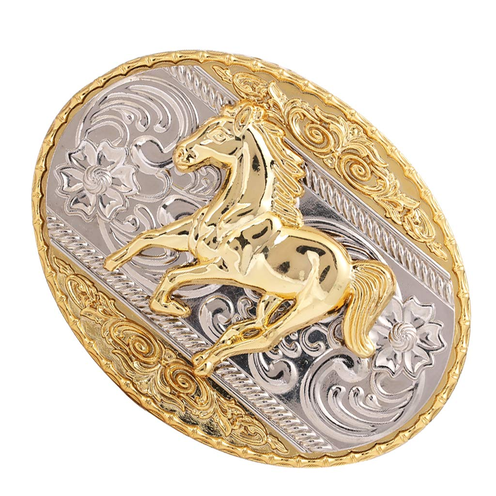 Western Cowboy Ealge//longhorn bull//Rider//Horseshoe//Running horse Gold Plated large Belt Buckle for Men and Women