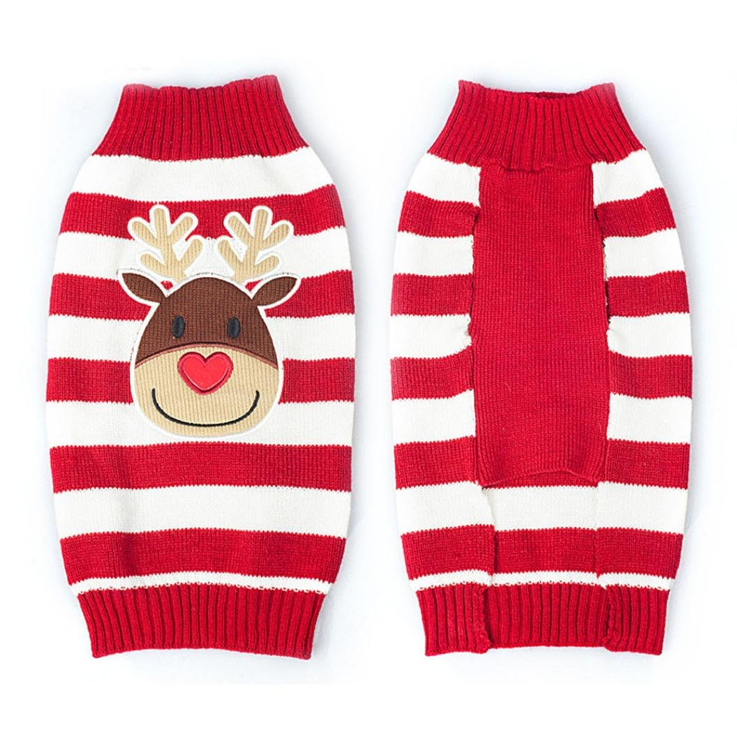 Pet Dog Clothes , AmaMary88 Christmas elk Printed Clothes Puppy Winter Sweater Costume Coat (L)