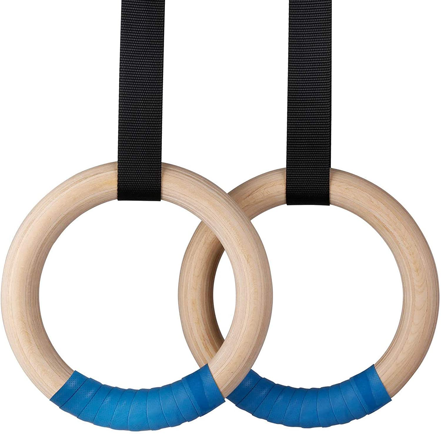INTEY Wood Gymnastic Rings 1500lbs, Industrial-Grade Buckle, Adjustable Straps, 1.25 Inch Fitness Rings for Home Full Body Workout and Outdoor Strength Training.