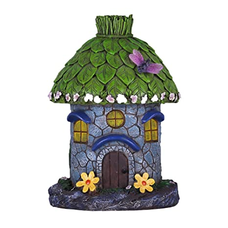 Hannahu0027s Cottage Fairy Garden Statues, Miniature Hand Painted Figurine  Sculpture Solar Light House, Lawn
