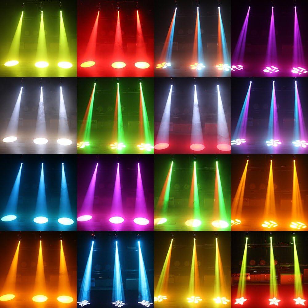 Versi/ón Mejorada 80W DMX512 de Control de Sonido de rotaci/ón autom/ática de 9//11 Canales de Arco Iris de 8 Colores Que cambian de Cabeza de luz LED Stage GOBO l/ámpara de patr/ón para Discoteca KTV Club