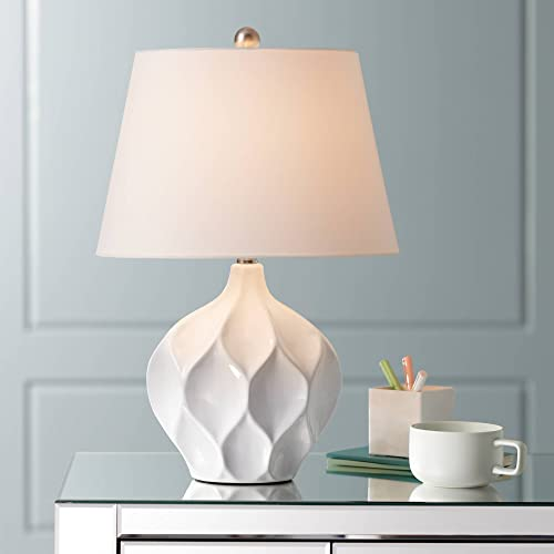 Dobbs Modern Accent Table Lamp White Ceramic Tapered Drum Shade for Living Room Bedroom Bedside Nightstand Office Family – 360 Lighting