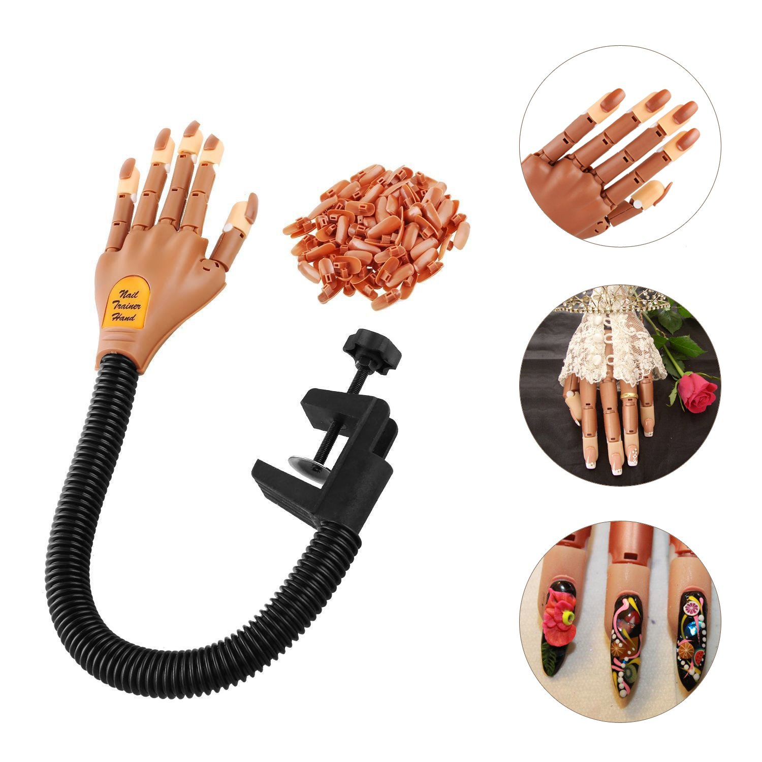 Amazon.com : Nail Trainer Practice Nails Hand Flexible Nail Training ...