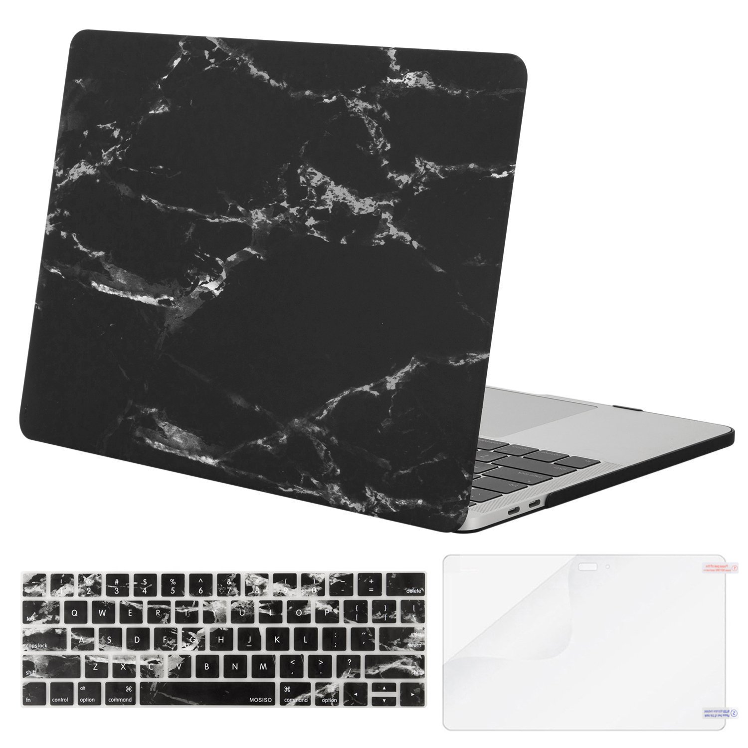 MOSISO MacBook Pro 15 Case 2018 2017 2016 Release A1990/A1707, Plastic Pattern Hard Shell & Keyboard Cover & Screen Protector Compatible Newest Mac Pro 15 Inch, Black Marble