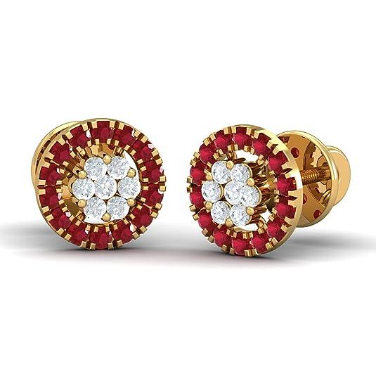 KuberBox 14k Yellow Gold Ruby Stud Earrings Women
