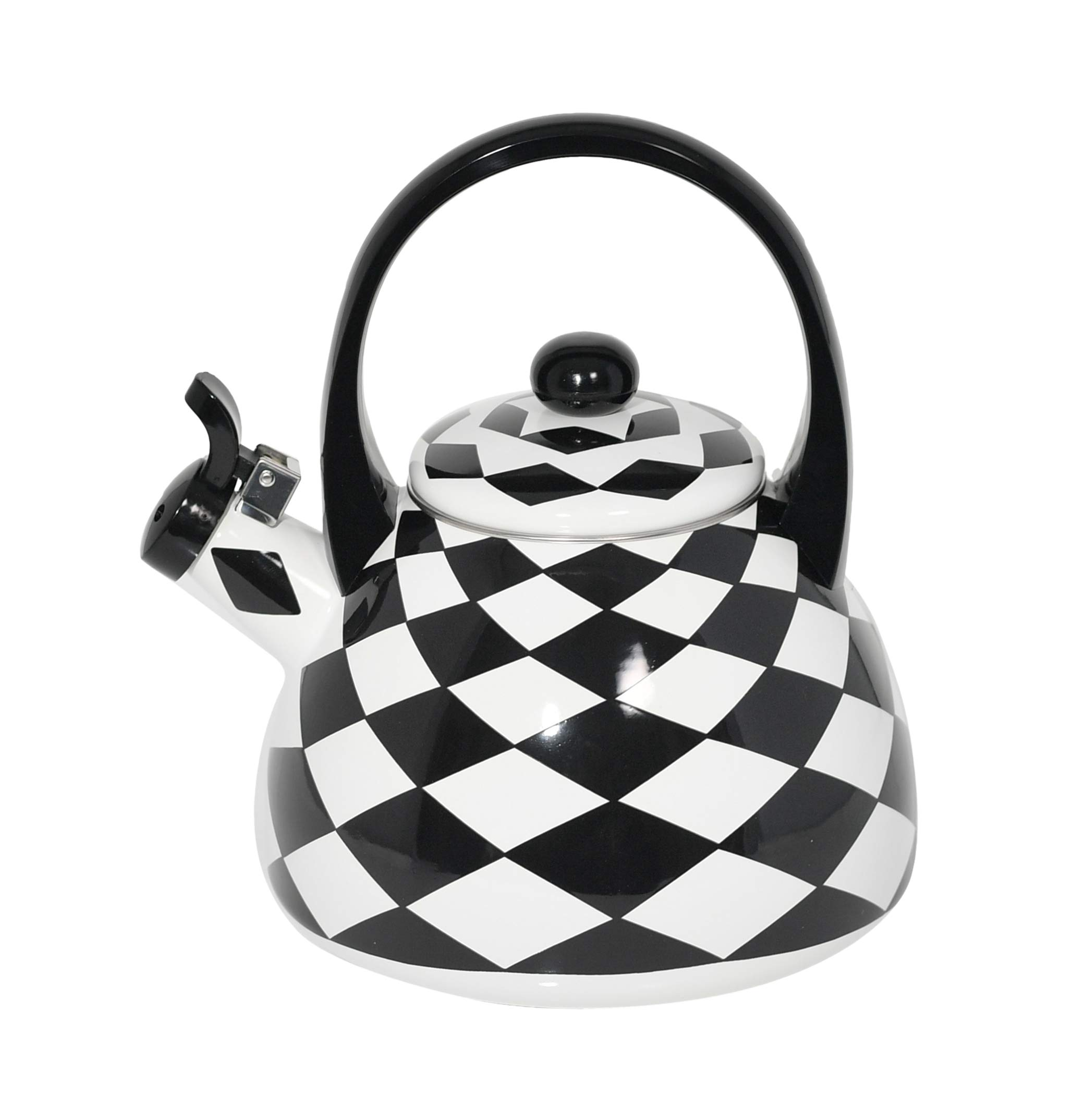 HOME-X Black Checkered Whistling Tea Kettle, Cute Animal Teapot, Kitchen Accessories and Decor