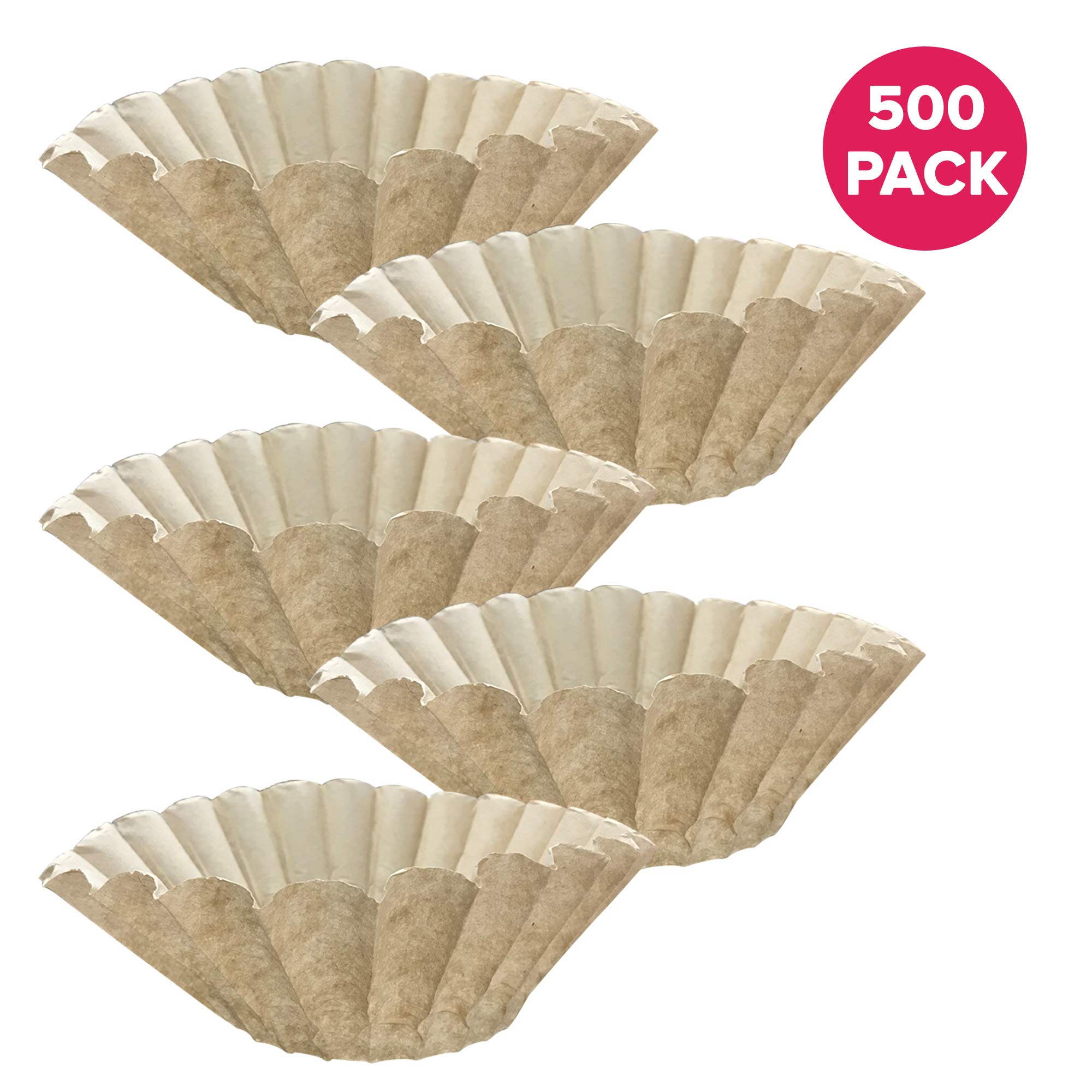 Think Crucial 500PK Replacement for Bunn Unbleached Paper Coffee, Filter Fits 12 Cup Commercial Coffee Brewers, Compatible with Part 1M5002 and 20115.0000,