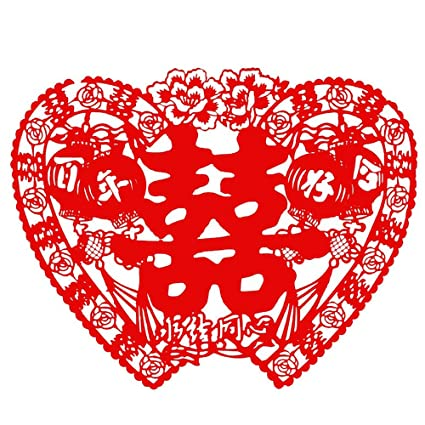 Amazon fine commodities chinese traditional wedding flannel fine commodities chinese traditional wedding flannel paper cut wedding decoration door stickers junglespirit Gallery