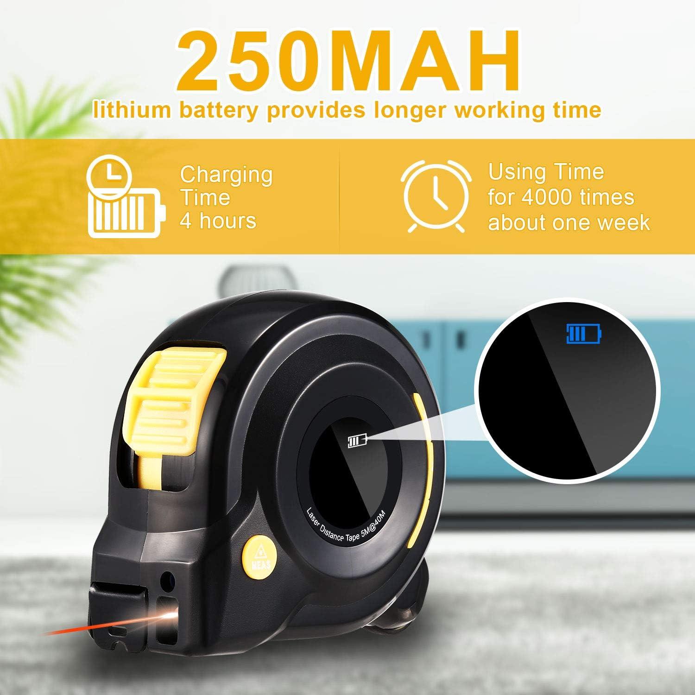 HOLULO Cinta M/étrica L/áser 131Ft Medidor de distancia l/áser digital con pantalla LCD Telemetro Laser para medir la longitud del arco Distancia,Zona,Volumen