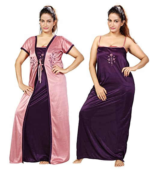 b61a3168841 MAHAARANI Fancy Nighty Night Wear Sleep Wear with Robe for Women   Amazon.in  Clothing   Accessories
