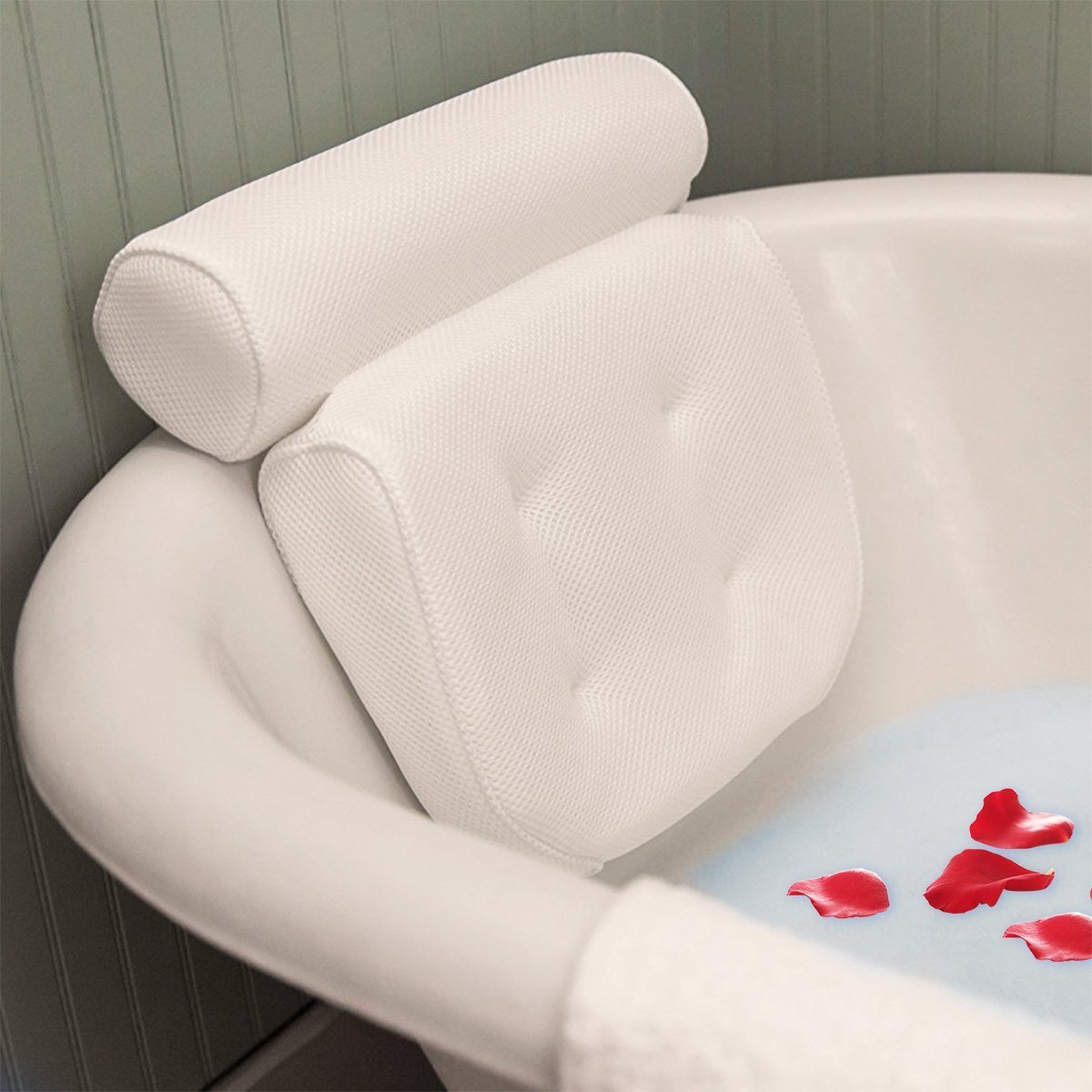 Essort Spa Bath Pillow, PU Bath Cushion with Non-Slip Suction Cups, Home Spa Headrest for Ultimate Relaxation, Providing Head, Neck, Back and Shoulders Support, 10.63'' x 5.51'' x 1.97'' White ESSORTLK13UW1893