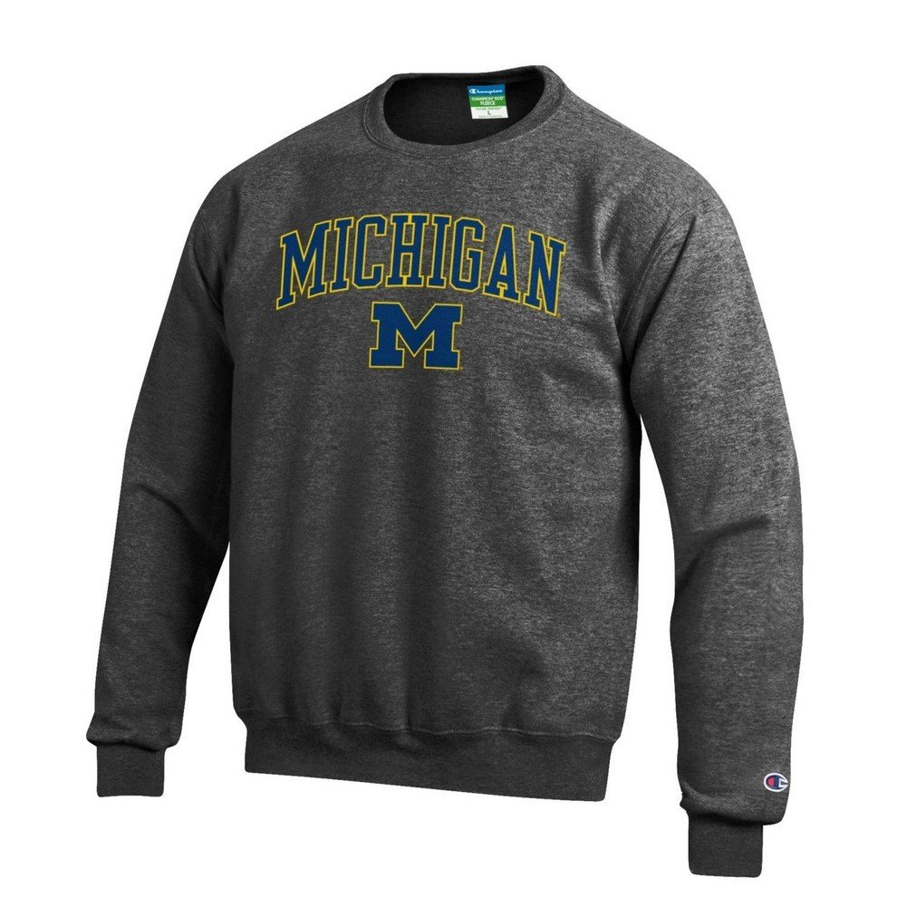 Elite Fan Shop NCAA Mens Crewneck Charcoal Sweatshirt Arch