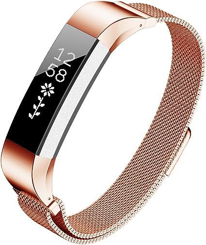 Smartwatch Fitness Armband silber Edelstahl Magnet-Verschluss für FitBit Alta