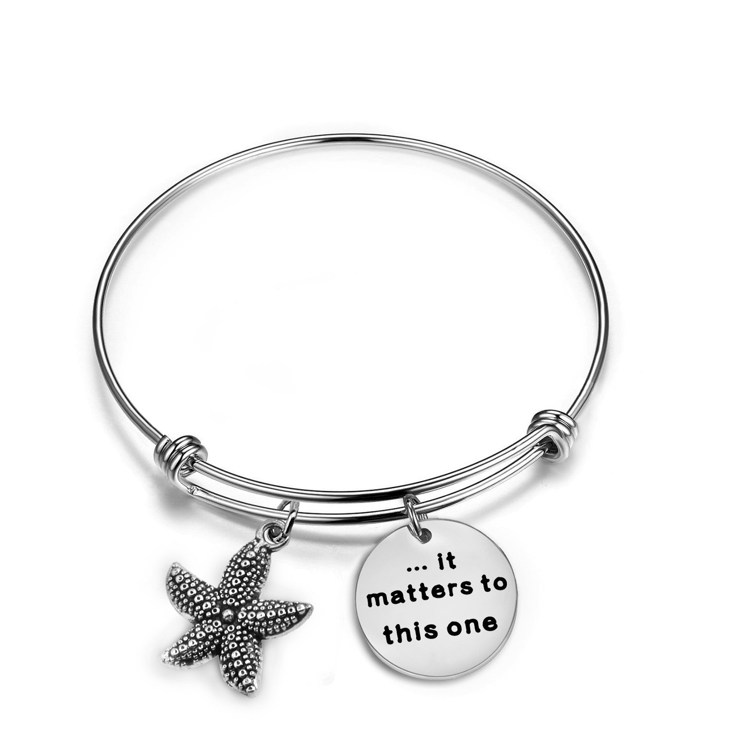 Zuo Bao Starfish Jewelry It Matters to This One Adjustable Bangle Bracelet Sea Jewelry Social Worker Gift