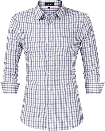 Yong Horse - Camisa clásica de Cuadros de Colores Contrastantes con Bolsillos Dobles para Hombre