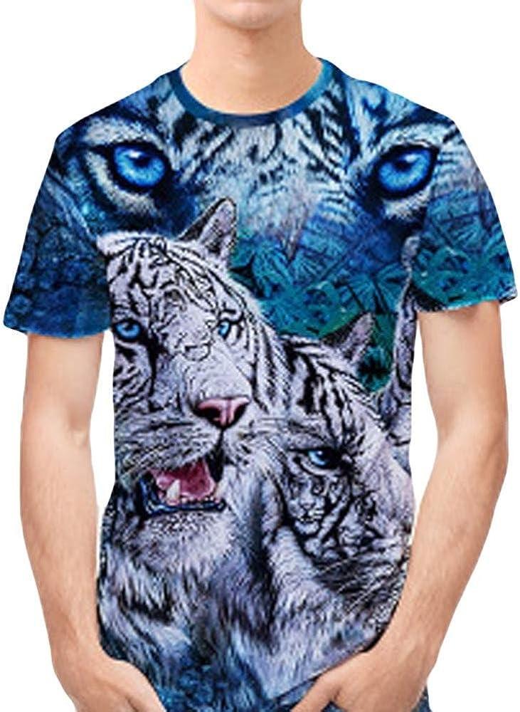 Camiseta para Hombre, Personalidad para Hombre 3D Print Tiger Casual Camisa de Manga Corta Top Blusa (XXL): Amazon.es: Ropa y accesorios