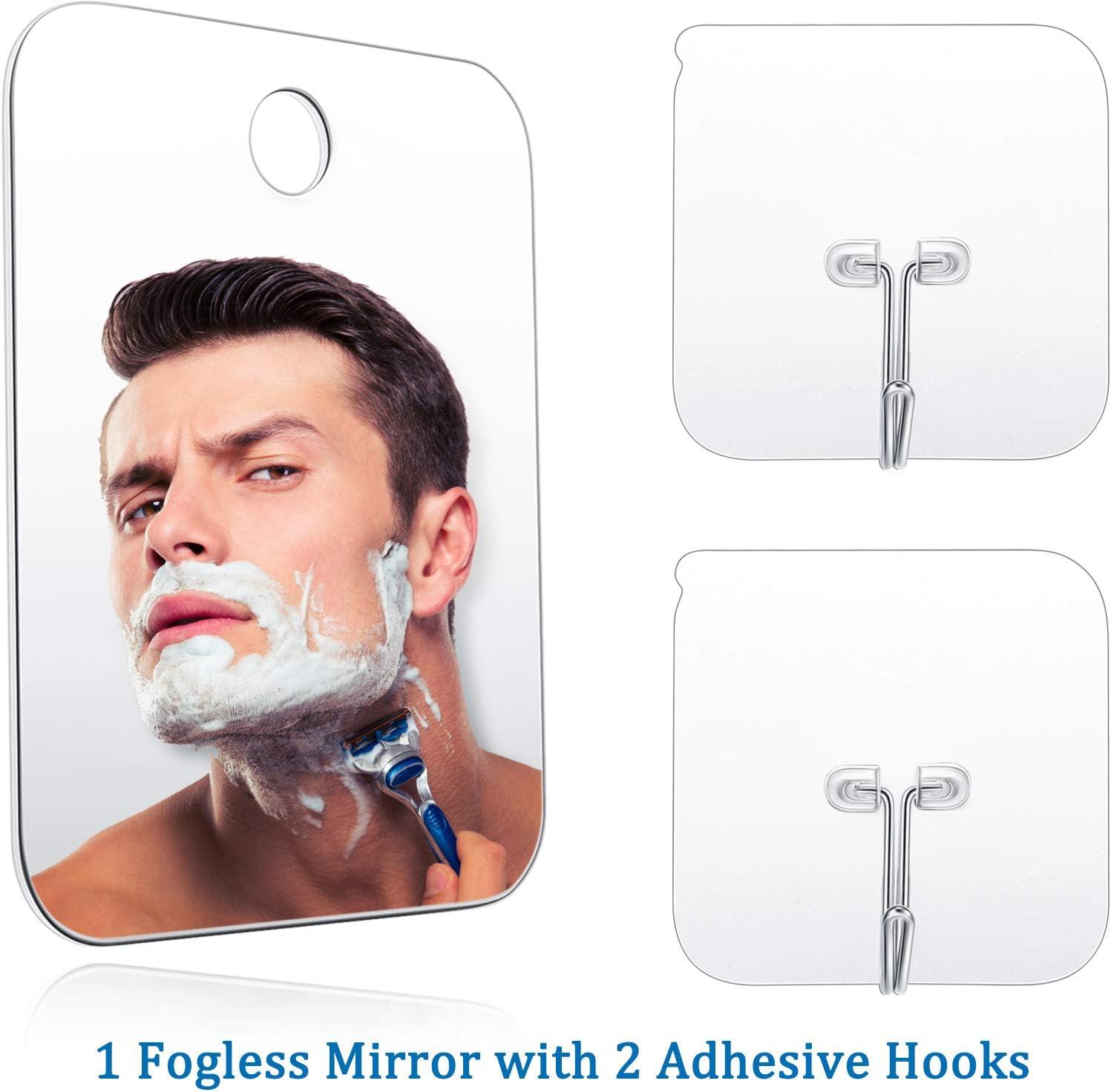 Espejo de Ducha Espejo Ativaho Maquillaje de Afeitar Espejo Ligero sin Marco con 2 Ganchos Pegajosos, 6.8 x 5.2 Pulgadas