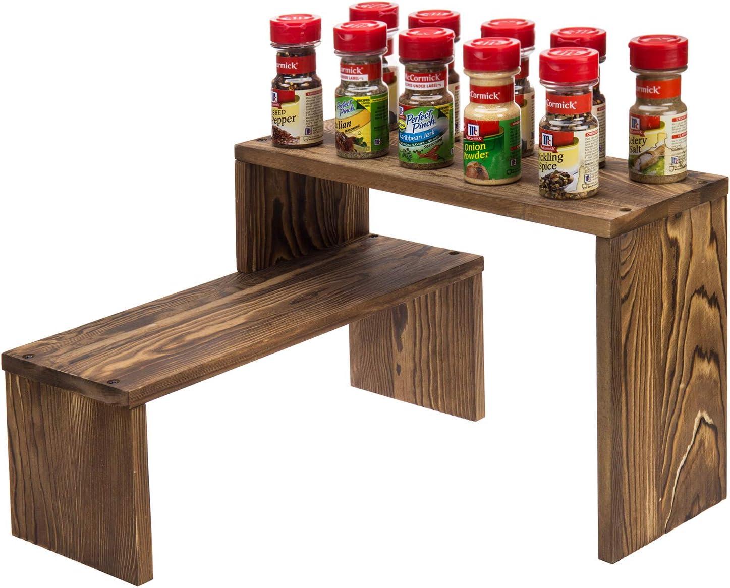 MyGift Rustic Dark Brown Burnt Solid Wood Tabletop or Kitchen Counter Top Corner Storage Shelf, Desktop Bookshelf Organizer