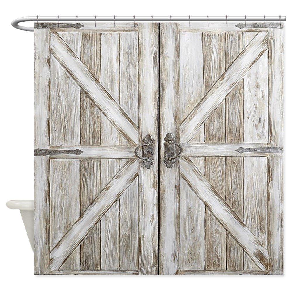 CafePress Distressed Barn Doo Wood Plank Tile Decorative Fabric Shower Curtain (69''x70'')